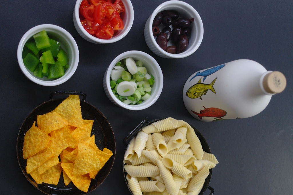 Zutaten für Pasta mit Tortilla-Chips