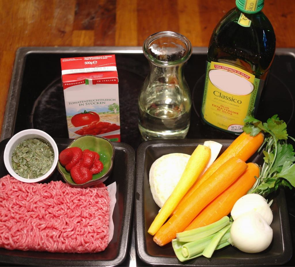 Zutaten für Bolognese Sauce